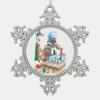 Cute Raccoon Chef Baking for Christmas Holidays Snowflake Pewter Christmas Ornament