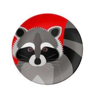 Cute Raccoon Drawing Porcelain Plate