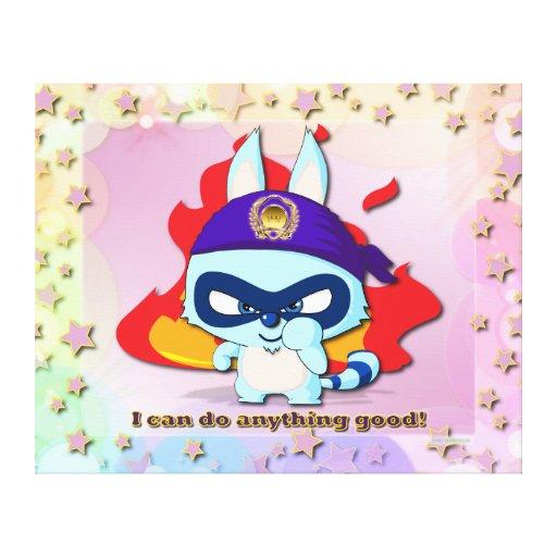 Cute Raccoon Funny Cartoon Character Kawaii Canvas Gallery Wrap Canvas