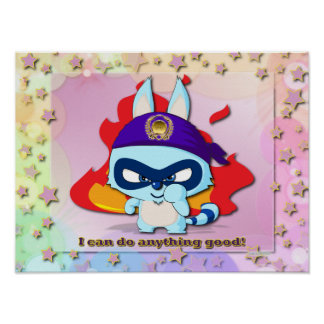 Cute Raccoon Funny Cartoon Character Kawaii Poster