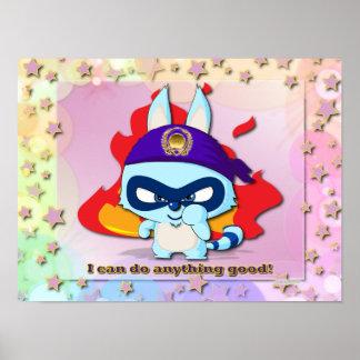 Cute Raccoon Funny Cartoon Character Kawaii Poster