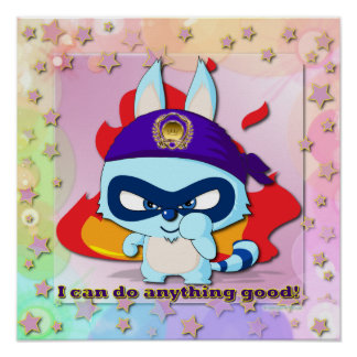 Cute Raccoon Funny Cartoon Character  Wall Arts Poster
