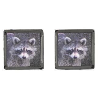 Cute Raccoon Gunmetal Finish Cufflinks