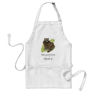 Cute Raccoon, Help Wash up, Animal Standard Apron