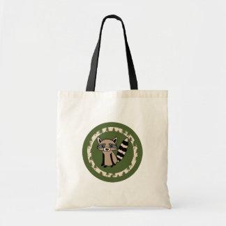 Cute Raccoon om Circle of Green Tote Bag