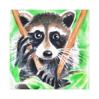 Cute Raccoon Watercolor Art Canvas Print