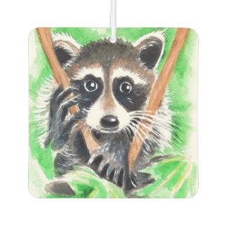 Cute Raccoon Watercolor Art Car Air Freshener
