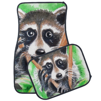 Cute Raccoon Watercolor Art Car Mat