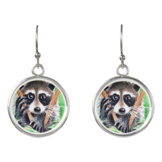 Cute Raccoon Watercolor Art Earrings