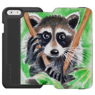 Cute Raccoon Watercolor Art Incipio Watson™ iPhone 6 Wallet Case