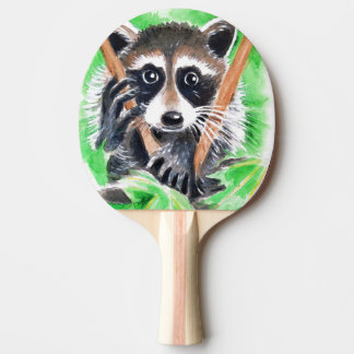 Cute Raccoon Watercolor Art Ping Pong Paddle