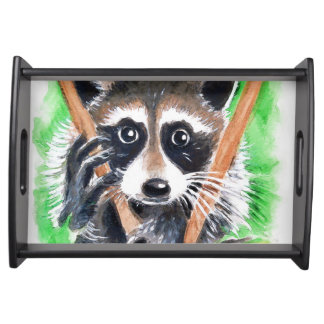 Cute Raccoon Watercolor Art Serving Tray