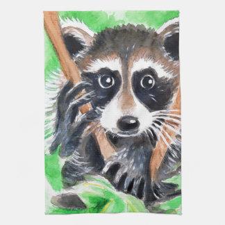 Cute Raccoon Watercolor Art Tea Towel