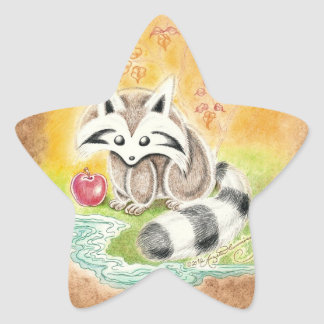 Cute raccoon with red apple near pond star sticker