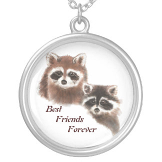 Cute Raccoons, Best Friends Forever, BFF, Round Pendant Necklace