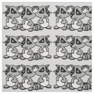 Cute Raccoons Graphic Design Fabric