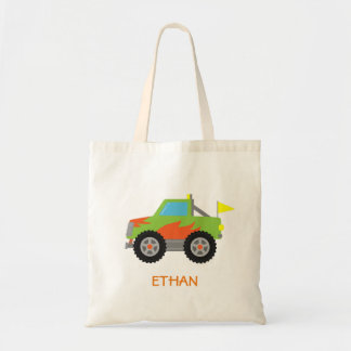 Cute Racing Green Monster Truck for Boys Tote Bags