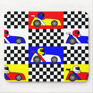 Cute Racing Print - Checkered with Red Blue Yellow Mouse Pad