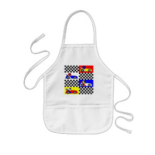 Cute Racing Print - Chequered with Red Blue Yellow Kids Apron