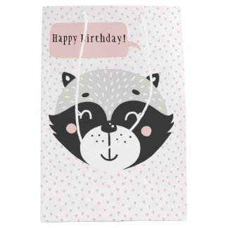 Cute Racoon Grey Striped Gift Bag - Medium, Matte