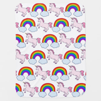 Cute Rainbow and Unicorn Baby Blanket