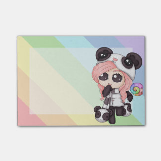 Cute Rainbow Anime Panda Girl Post-it Notes
