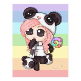 Cute Rainbow Anime Panda Girl Postcard