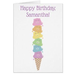 Cute Rainbow Bears Ice Cream Cone Card