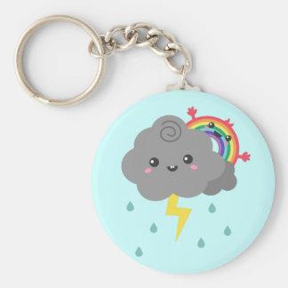 Cute Rainbow Behind Every Dark Cloud Cheerful Key Chain