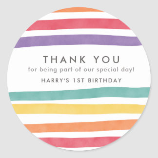 Cute Rainbow Birthday Party Thank You Stickers
