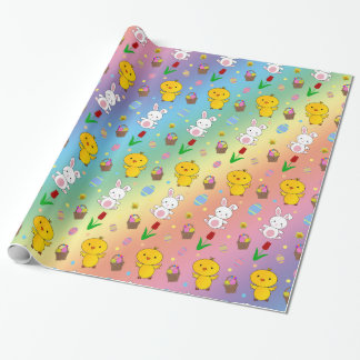 Cute rainbow chick bunny egg basket easter pattern wrapping paper