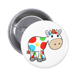 Cute Rainbow Cow  Button