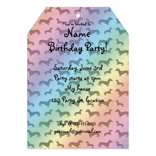 Cute rainbow dachshund pattern custom invites