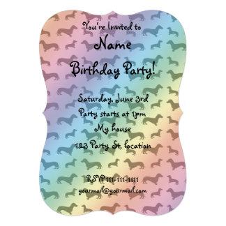 Cute rainbow dachshund pattern personalized invite
