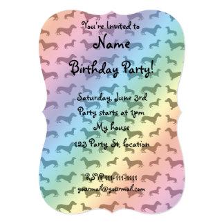 "Cute rainbow dachshund pattern 5"" x 7"" invitation card"