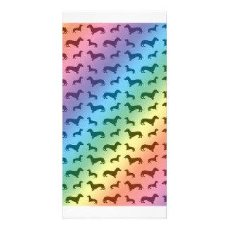 Cute rainbow dachshund pattern photo card