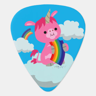 Cute Rainbow-Eating Unicorn Guitar Pick