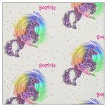 Cute Rainbow Fantasy Unicorn Personalised Print Fabric