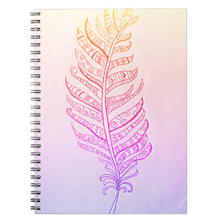 Cute Rainbow Feather Photo Note Book