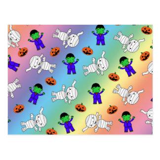 Cute rainbow Frankenstein mummy pumpkins Post Card