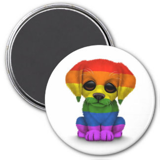 Cute Rainbow Gay Pride Puppy Dog, White 7.5 Cm Round Magnet