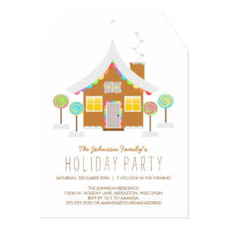 "Cute Rainbow Gingerbread House Holiday Party 5"" X 7"" Invitation Card"