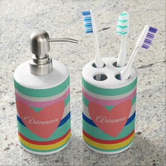 Cute Rainbow Girly Heart Bathroom Set