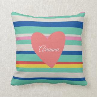 Cute Rainbow Girly Heart Cushion