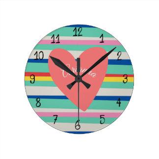 Cute Rainbow Girly Heart Round Clock