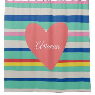 Cute Rainbow Girly Heart Shower Curtain