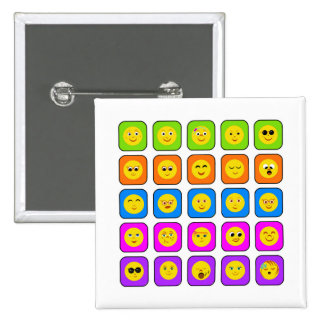 Cute Rainbow Happy Smiley Face Emoticons Pattern Pinback Buttons
