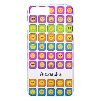 Cute Rainbow Happy Smiley Face Emoticons With Name iPhone 7 Plus Case