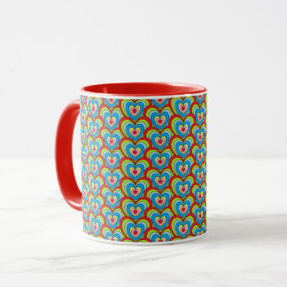 Cute Rainbow Hearts All Over Pattern Red Mug