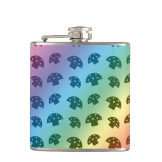 Cute rainbow mushroom pattern hip flask